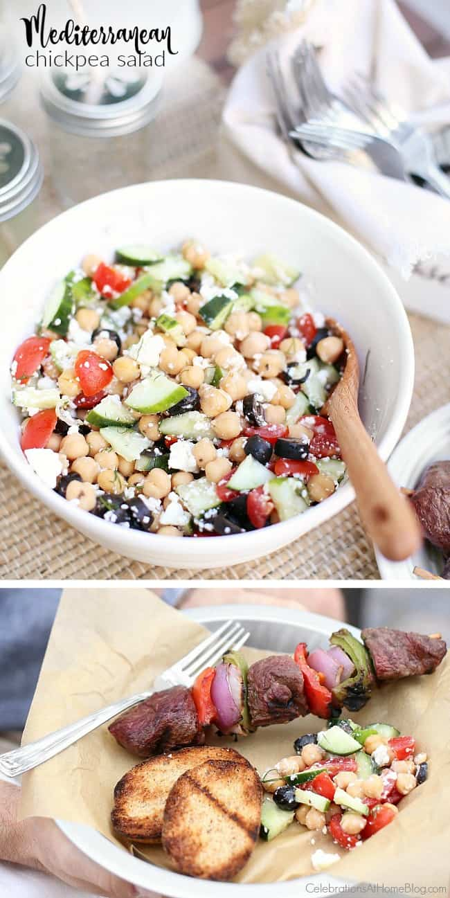 A Mediterranean Chickpea Salad perfect for summer entertaining. This side dish pairs well with almost any meat option!