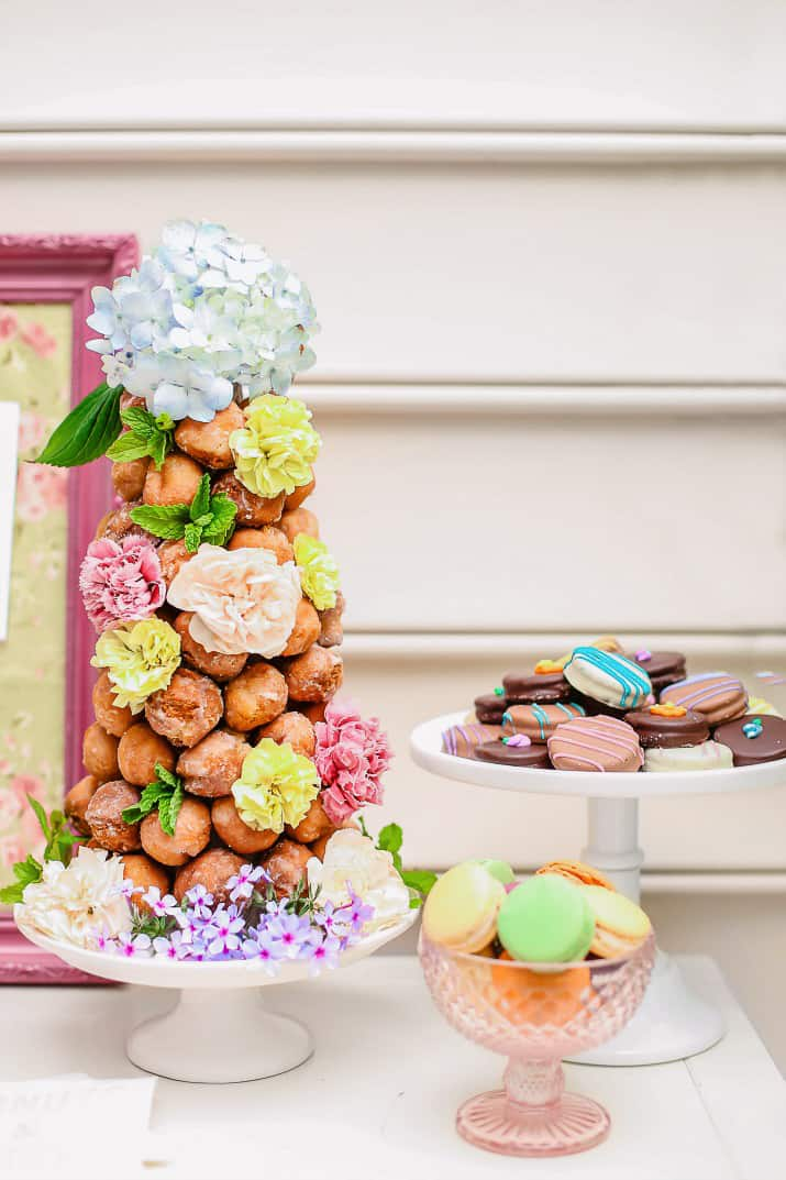 donut hole tower with flowers decor