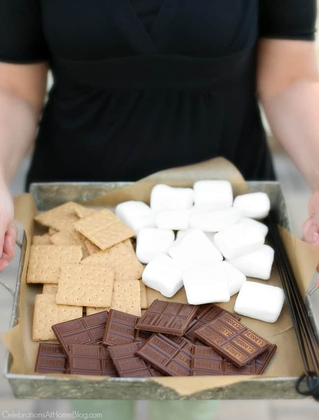 tray of smores ingredients for an easy backyard bbq