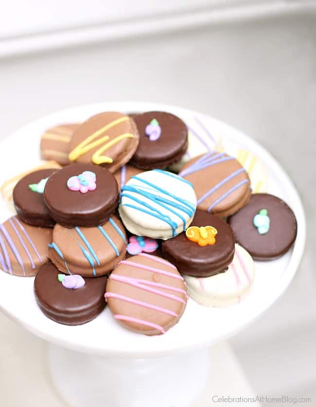 I love these chocolate dipped Oreos for spring parties.