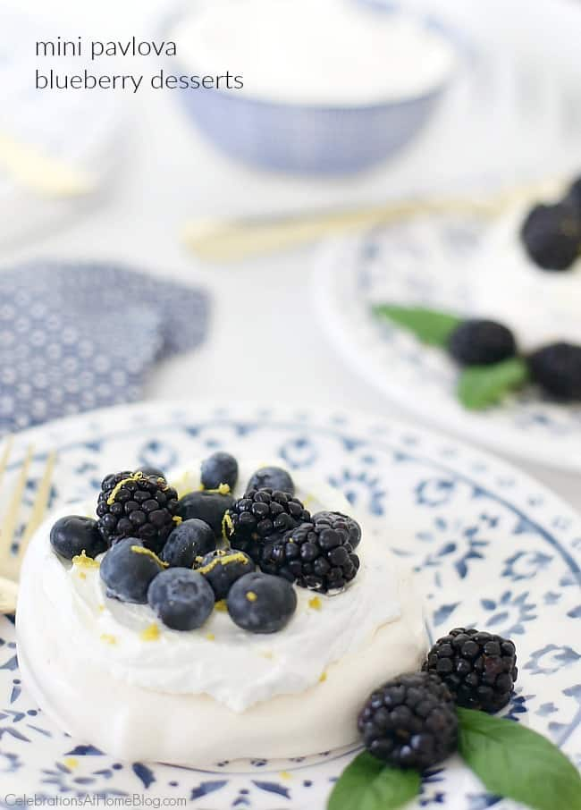 These mini pavlova blueberry desserts are light, crunchy, and delicious for summer entertaining. Get the recipe here.