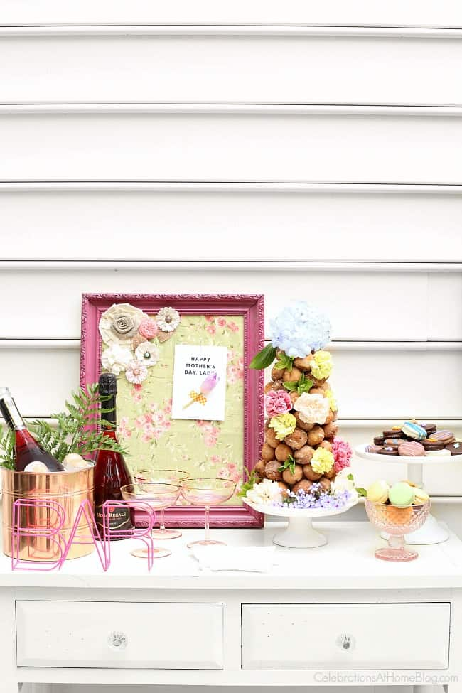 Host a ladies luncheon for mothers day and serve up a sweet dessert bar! Ideas and inspiration here, from Chris Nease of CelebrationsAtHomeBlog.com
