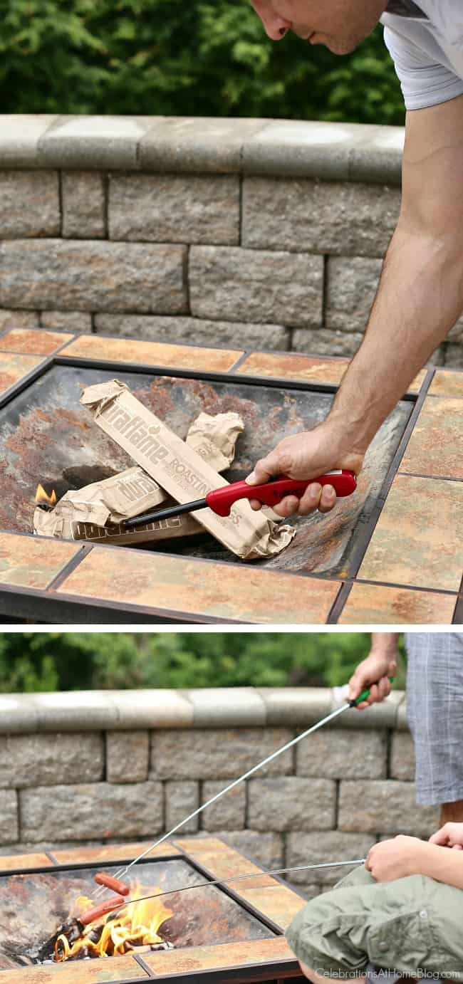 Plan a hot dog roast for summer entertaining with these tips; use duraflame campfire roasting logs for easy and safe cooking.