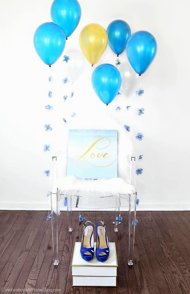 Something Blue bridal shower decor with balloons