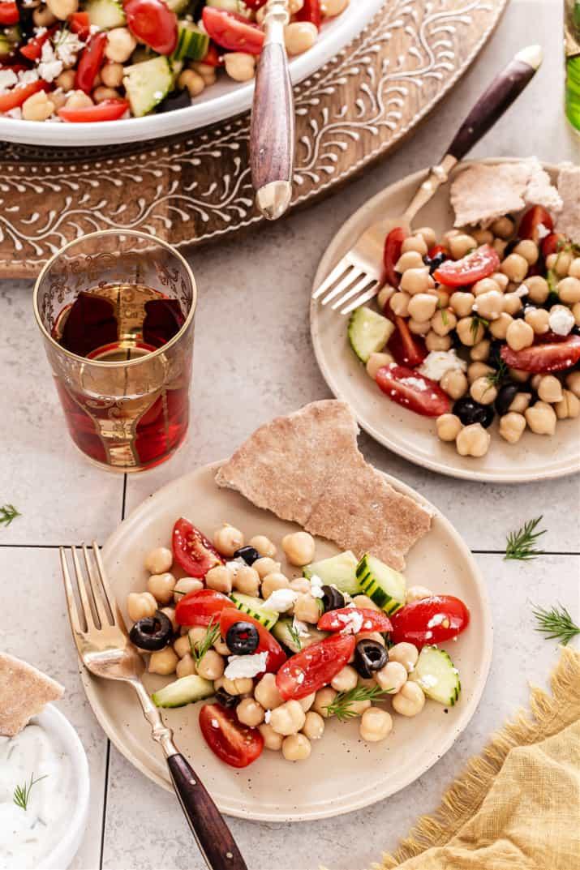 Mediterranean salad on small plates