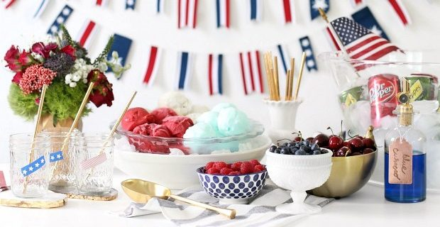 Red, White & Blue Ice Cream Floats for 4th of July