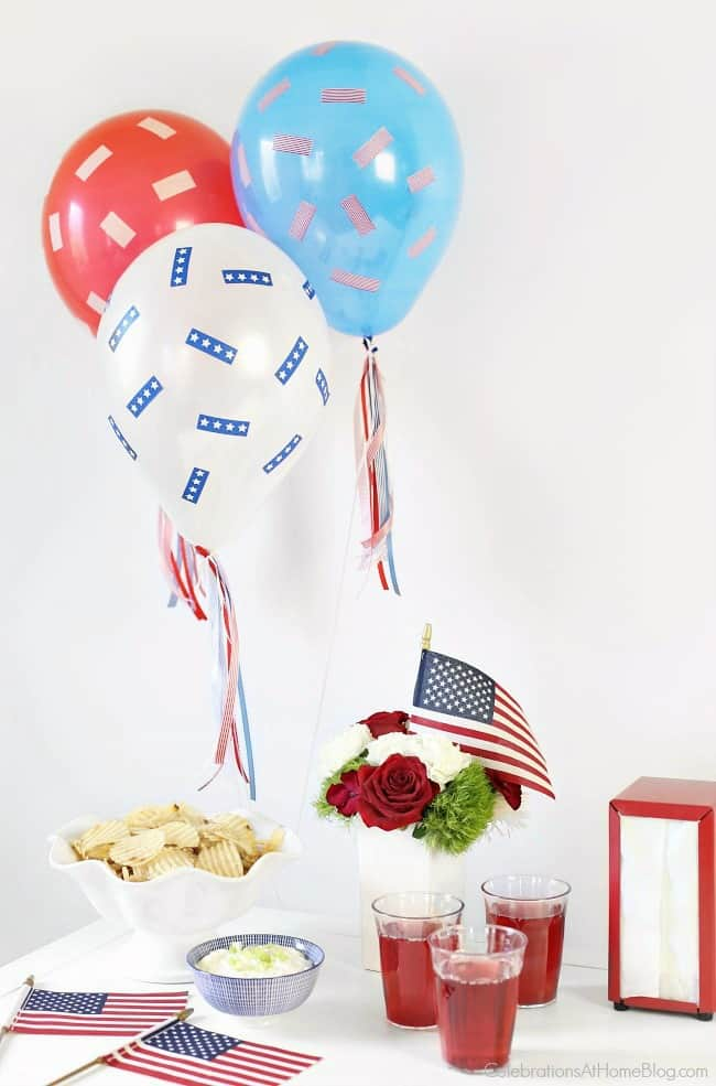 This Red, White & Blue Balloons DIY will decorate your party in a festive way. Great 4th of July decor idea.