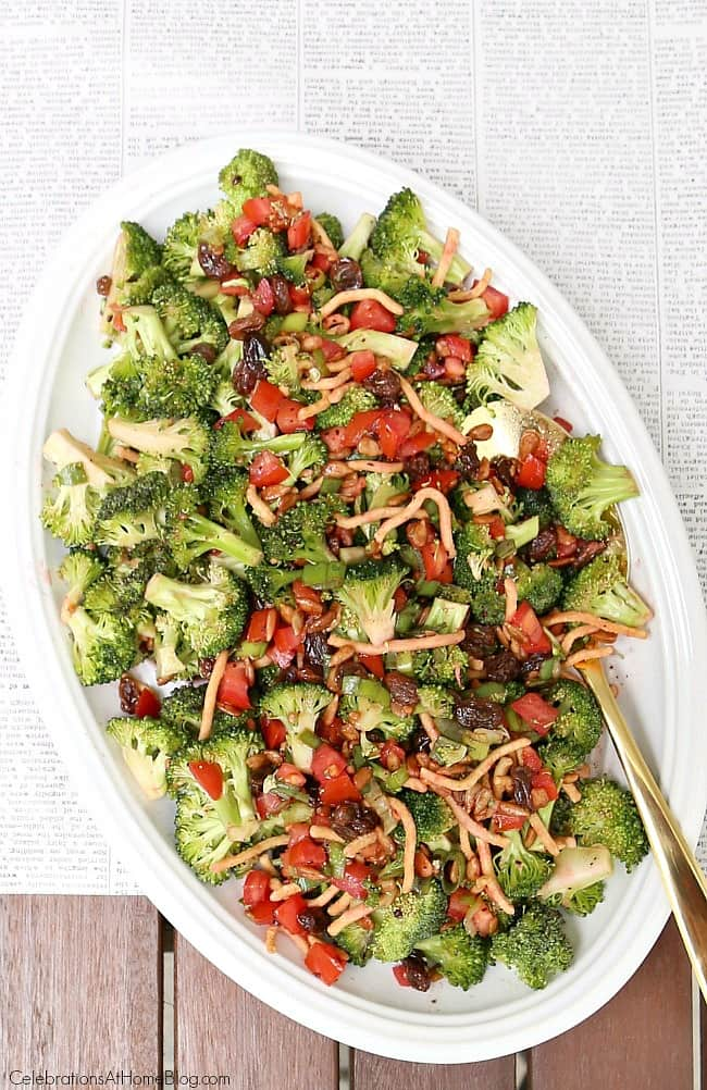 Make this Savory & Sweet Broccoli Salad for summer entertaining or potluck parties. This is a terrific dinner side dish.