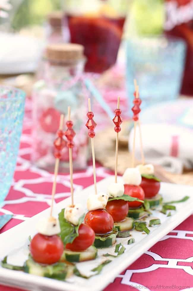 Make these tasty caprese bites for a summer dinner party menu.