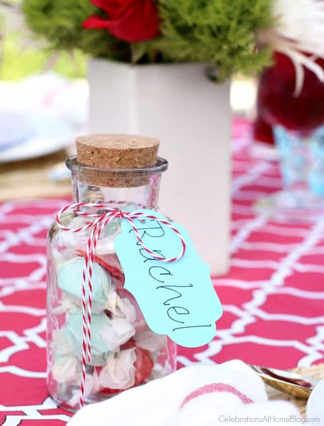 A summer dinner party tablescape requires easy but cute party favors that double as place card holders.