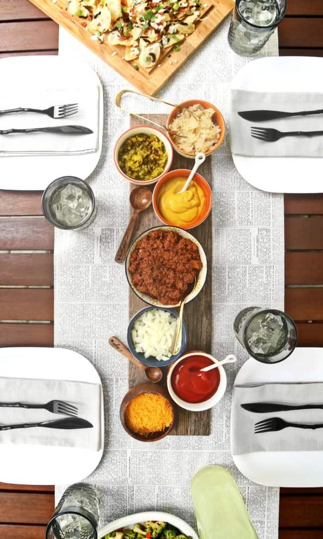 hot dog roast table setting