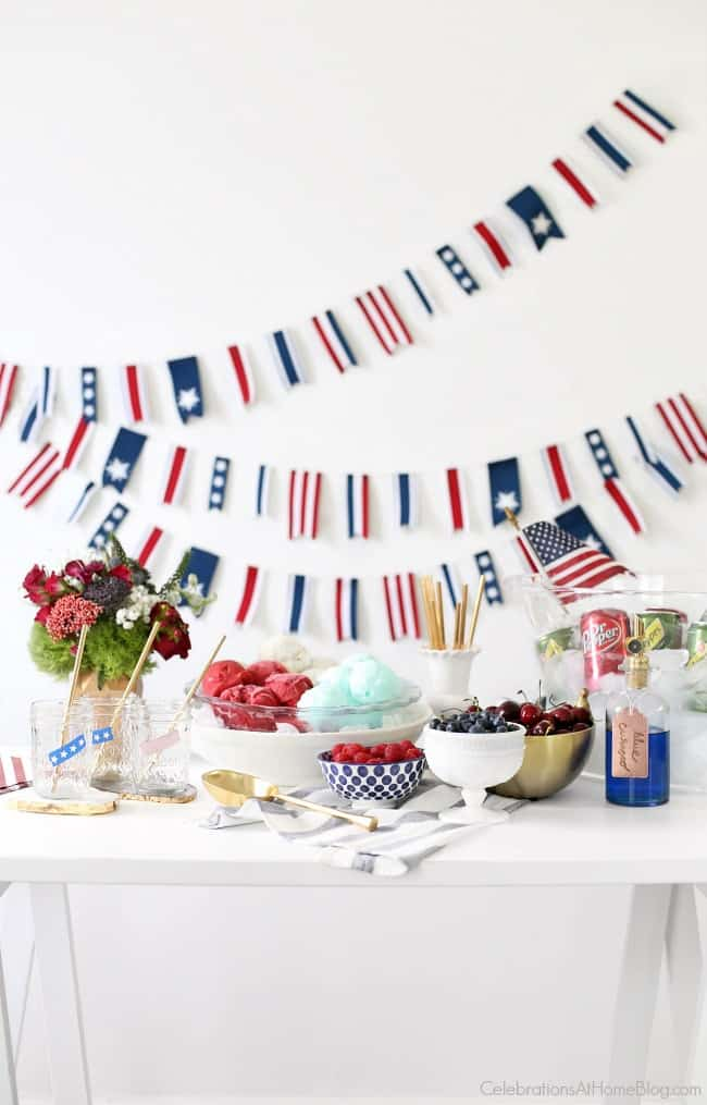 Set up a Red, White & Blue Ice Cream Floats station to celebrate the 4th of July. There's something for everyone, including children or adults. Check out these tasty combinations I created.