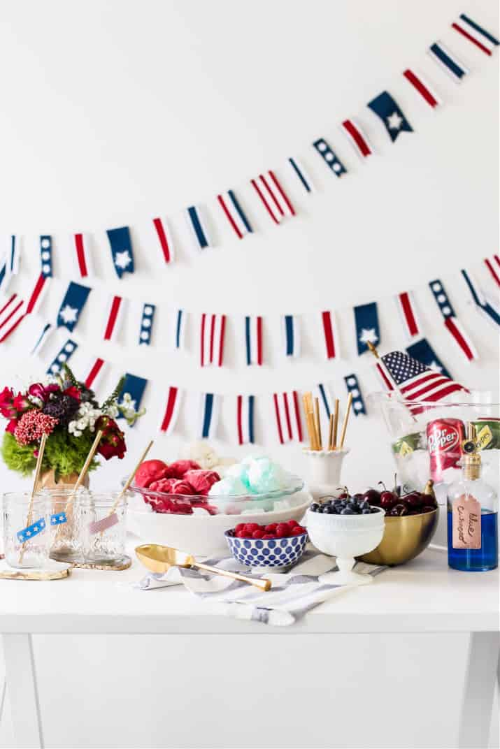 4th of July ice cream float bar in red, white, and blue colors