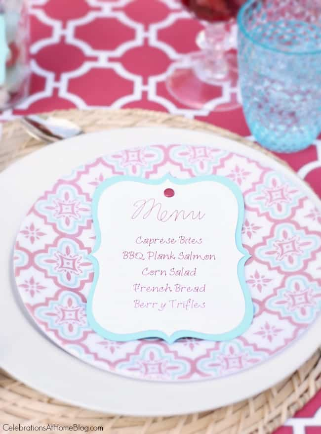 "Make these Easy DIY Layered Menu Cards that have a ""secret"" bonus - conversation starters! I'll show you how here, using my Cricut machine."