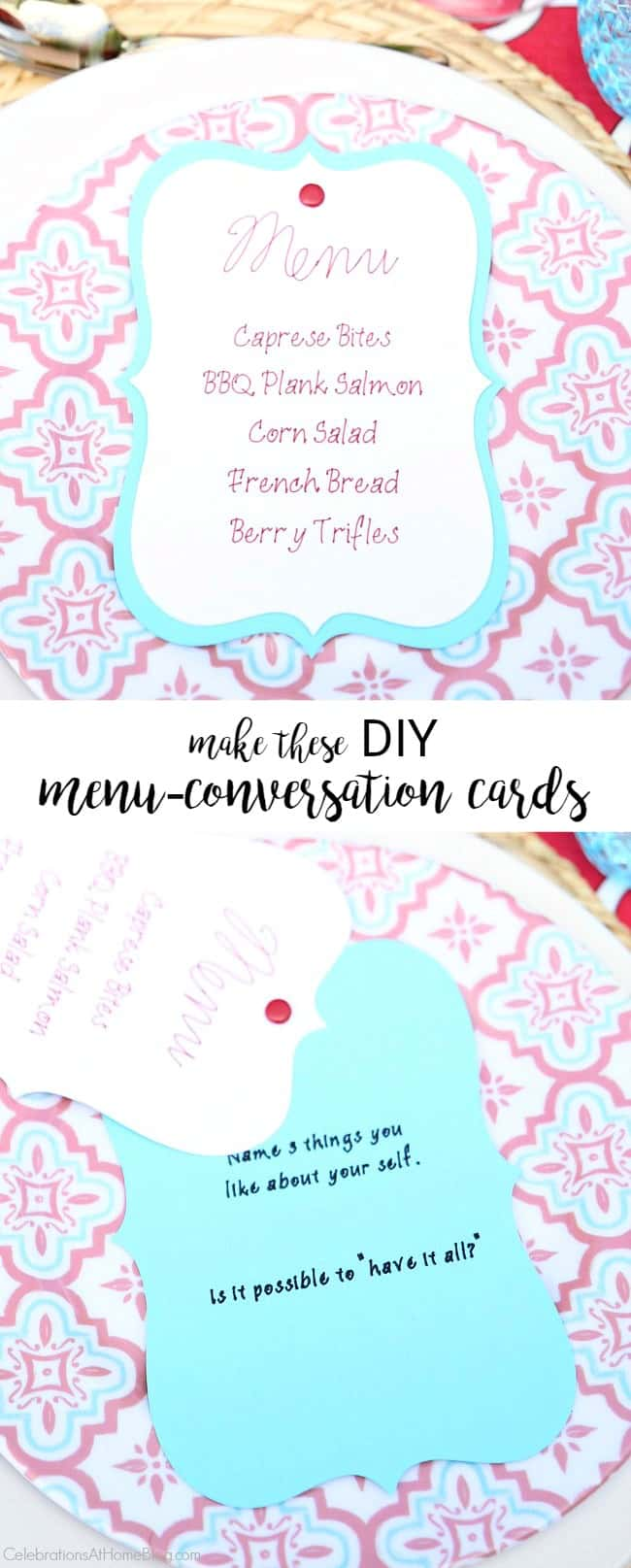 "Make these Easy DIY Layered Menu Cards that have a ""secret"" bonus - conversation starters! I'll show you how here."