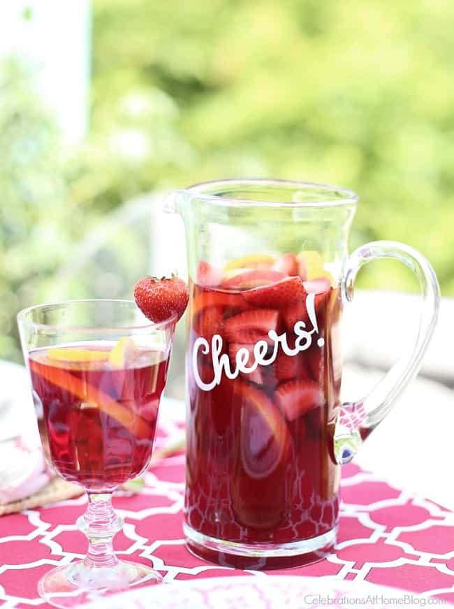 Cheers to red wine sangria and a custom decal for your pitcher.