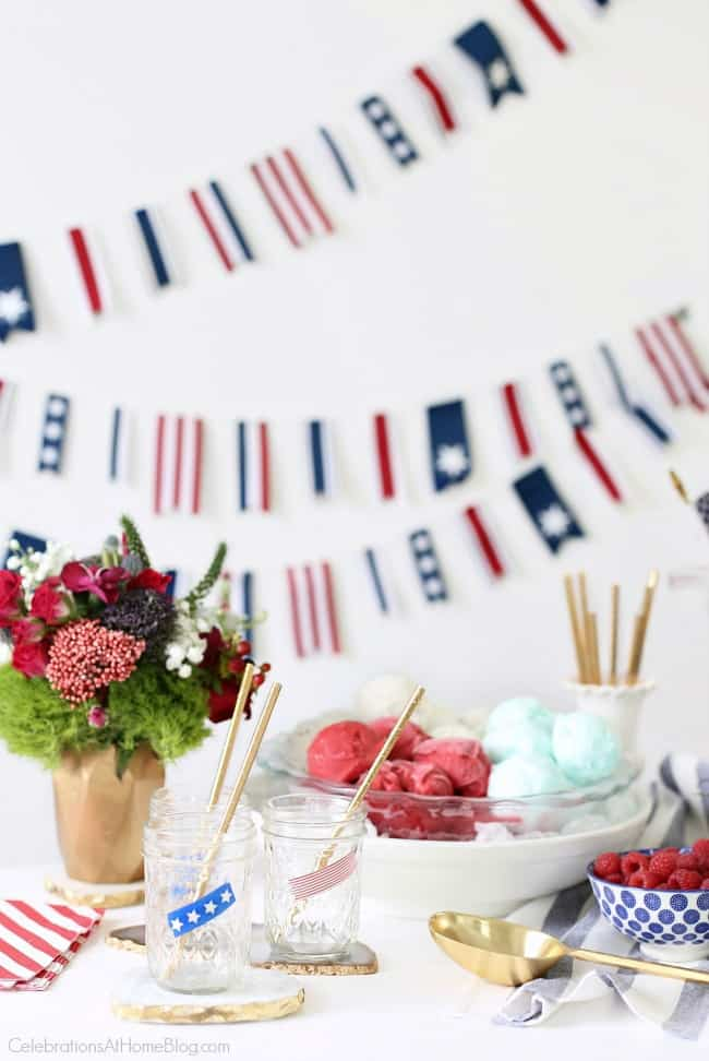 Red, White & Blue Ice Cream Floats bar for 4th of July