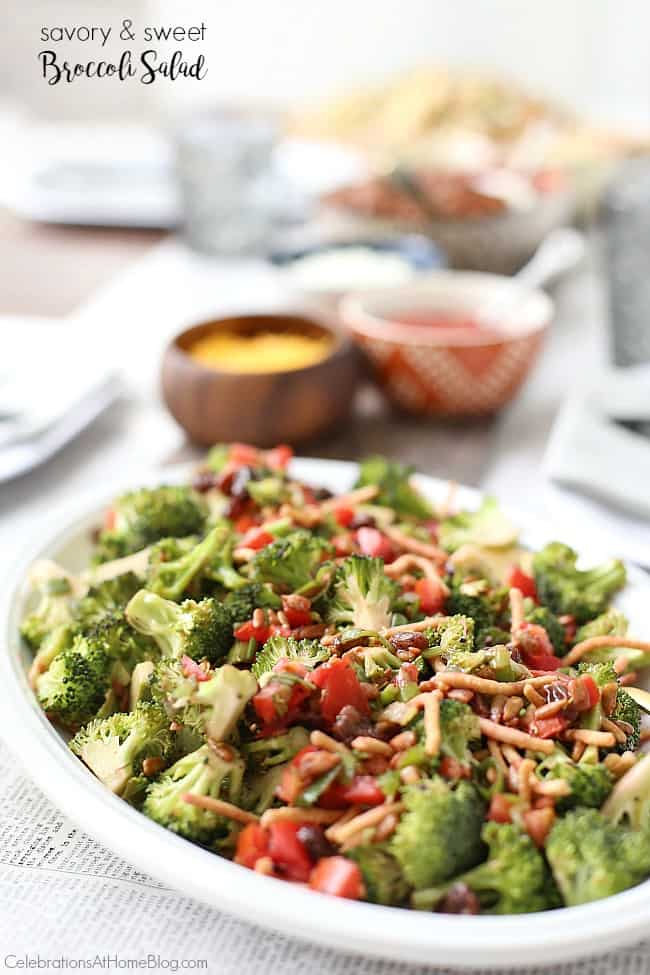 Make this Savory & Sweet Broccoli Salad for summer entertaining or potluck parties. This fresh side dish has something for everyone.