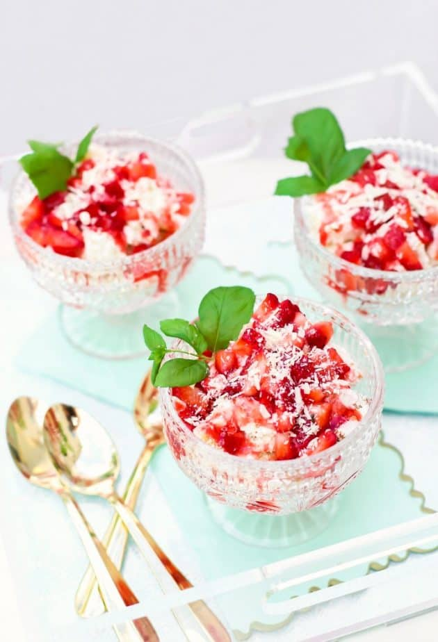 strawberry angel food cream dessert in compote dishes on tray