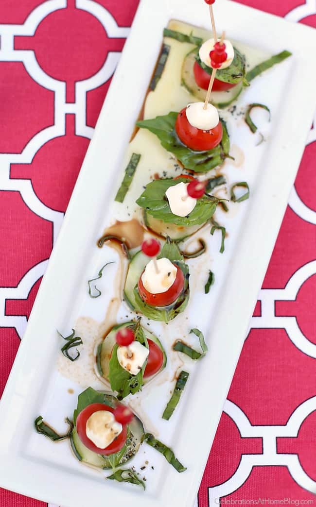 You'll love these summer appetizers - mini caprese bites.