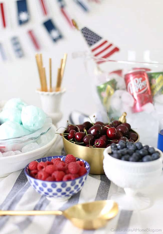 Red, White & Blue Ice Cream Floats bar, berries in bowls