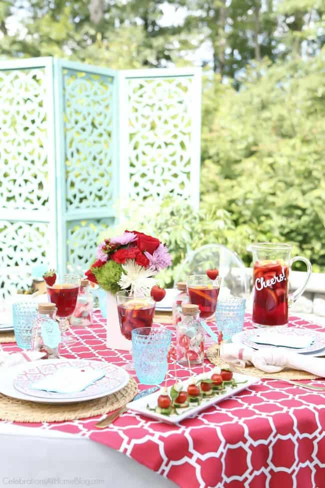 Bright summer dinner party tablescape design for newlyweds and beyond.