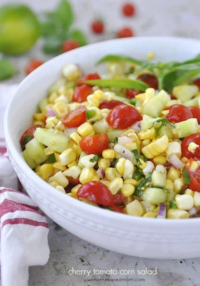 corn and tomato salad for a backyard picnic