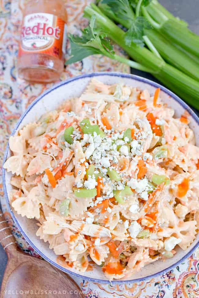 this buffalo chicken pasta salad is perfect for your next summer party
