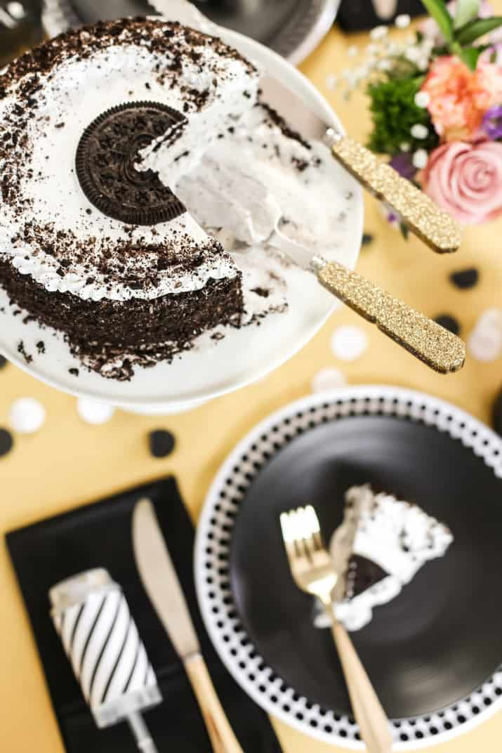 ice cream cake overhead view