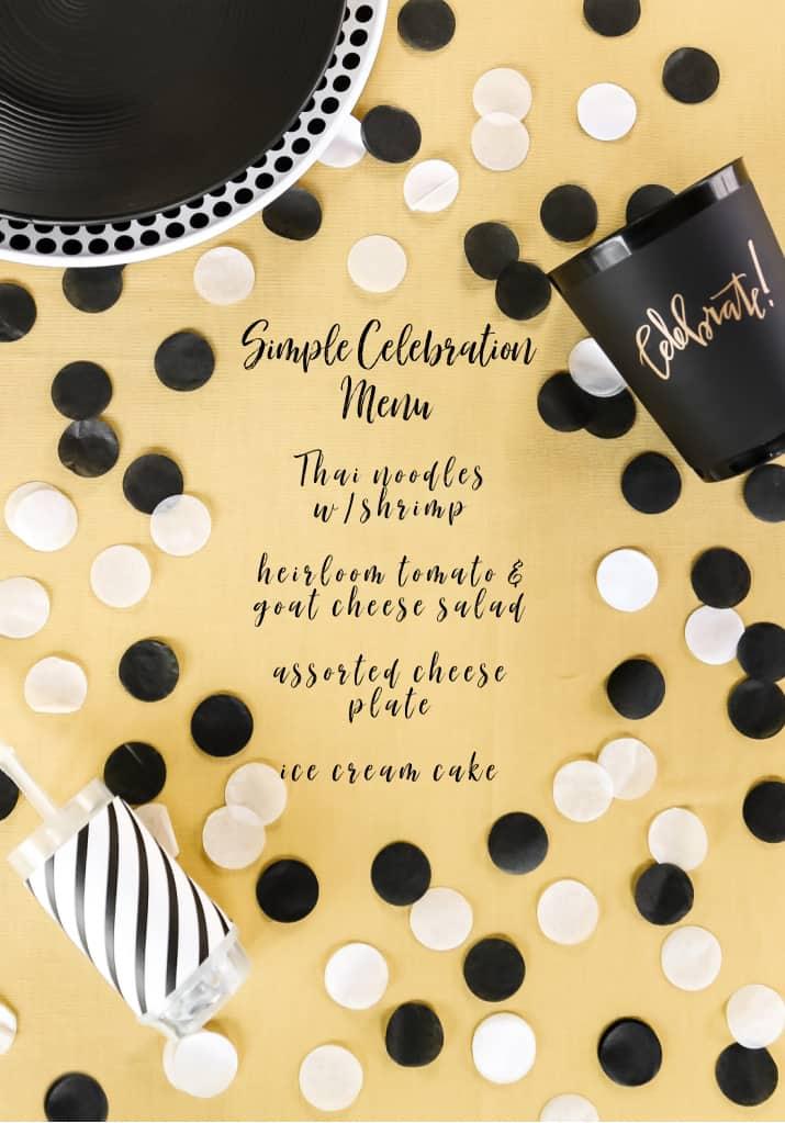 birthday celebration menu on yellow background
