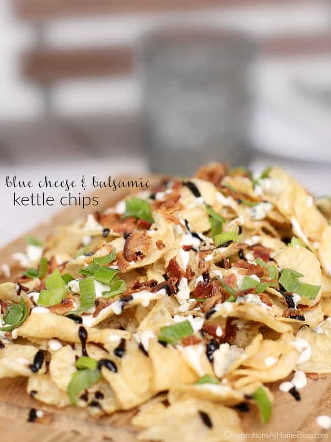 These blue cheese and balsamic kettle chips are a delicious snack or casual appetizer. It was inspired by a favorite restaurant menu item. Get this party food recipe here