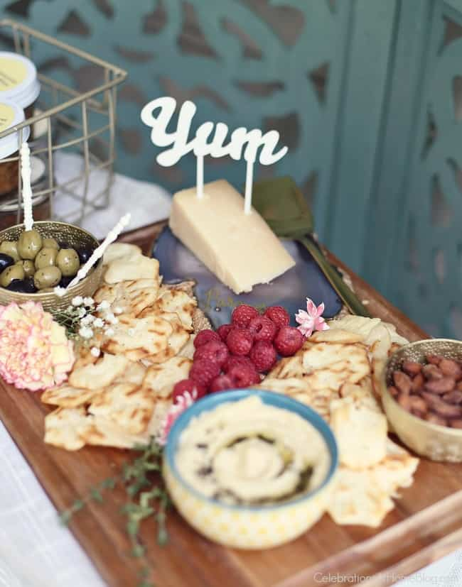 Summer Cocktail Party with a tasty cheese board.