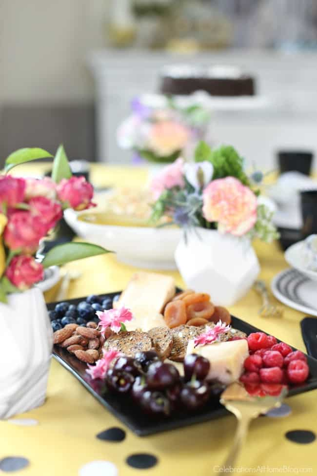 Host a Simple Celebration at Home with a light luncheon and tasty cheese plate.