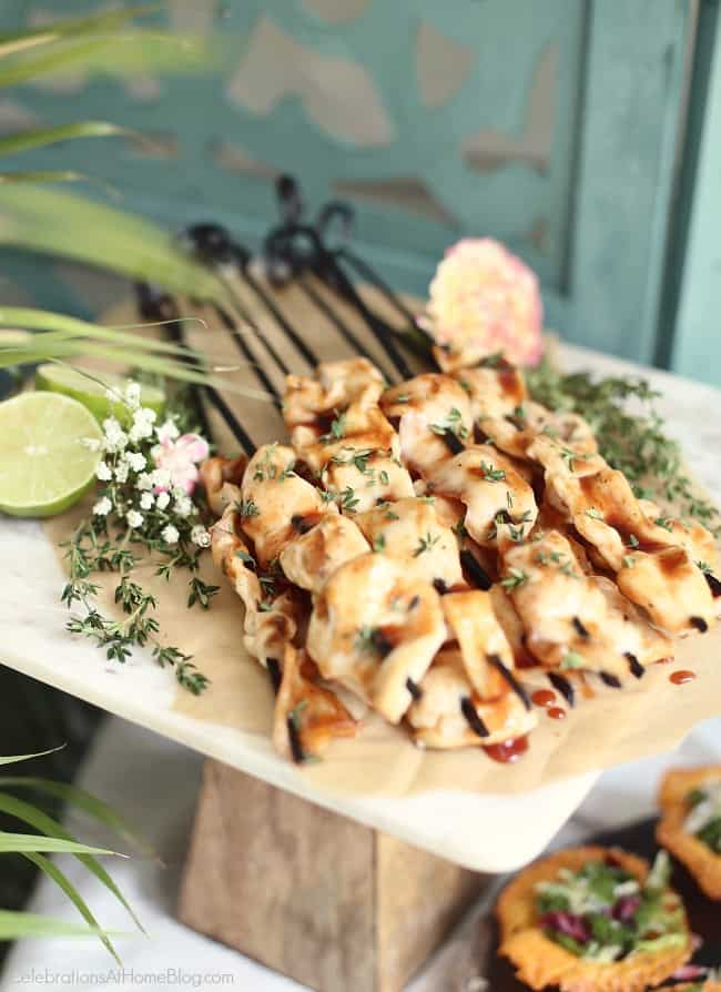 Host a Summer Cocktail Party with these tasty bbq chicken skewers. Easy entertaining at home tricks.