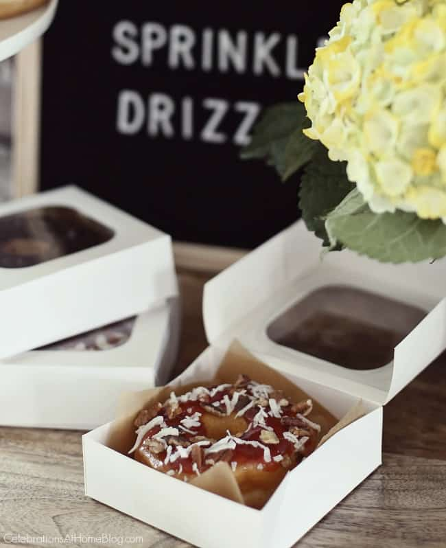 Set up a Donut Bar with Toppings for a fun take home party favor.