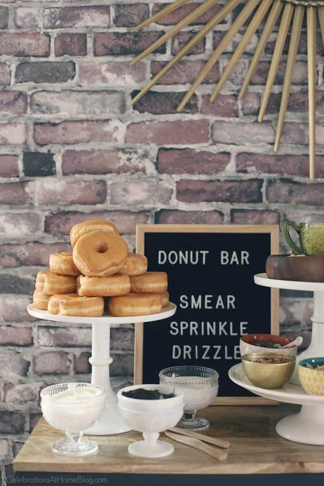 Set up a Donut Bar with Toppings for a brunch or dessert party idea. See all the details here, from Chris Nease of CelebrationsAtHomeBlog.com