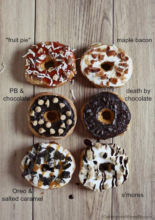 Great ideas for a Donut Bar with Toppings from Chris Nease of CelebrationsAtHomeBlog.com