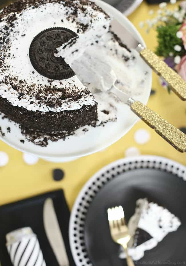 Enjoy a Simple Celebration at Home with delicious ice cream cake. Simple dessert ideas.