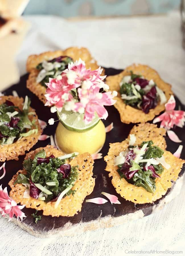 Host a Summer Cocktail Party with mini salads in cheese crisp bowls. Party food and appetizers.