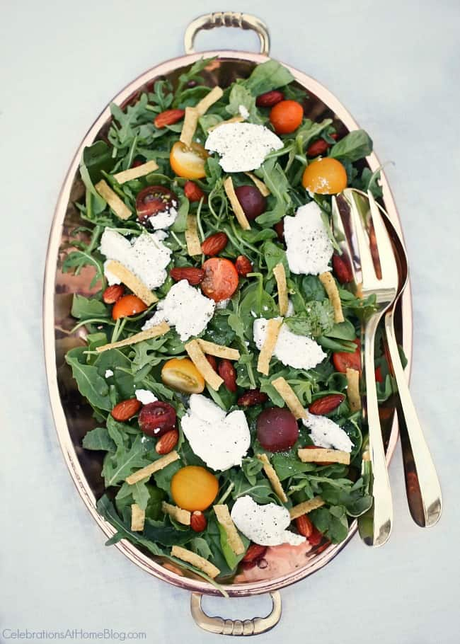 Host a sunset supper party with this tomato and goat cheese salad. See all the inspiration and recipes here.