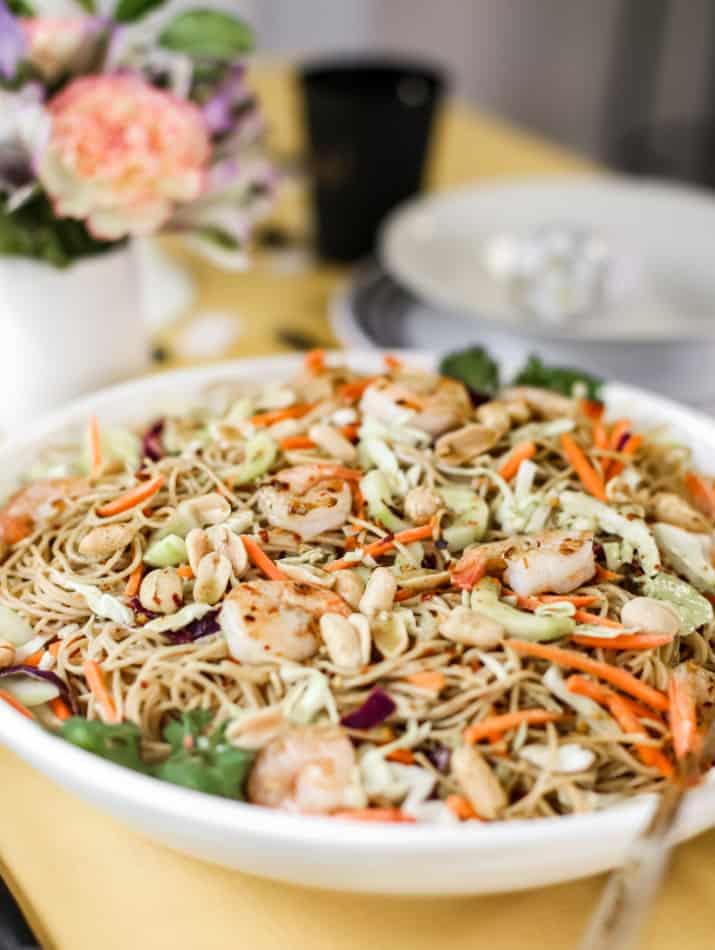 entrée pasta salad in white bowl