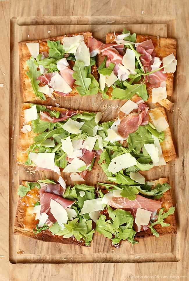 Fig jam and prosciutto flatbread pizza recipefor a Casual Supper or Dinner Party Menu, perfect for entertaining at home.
