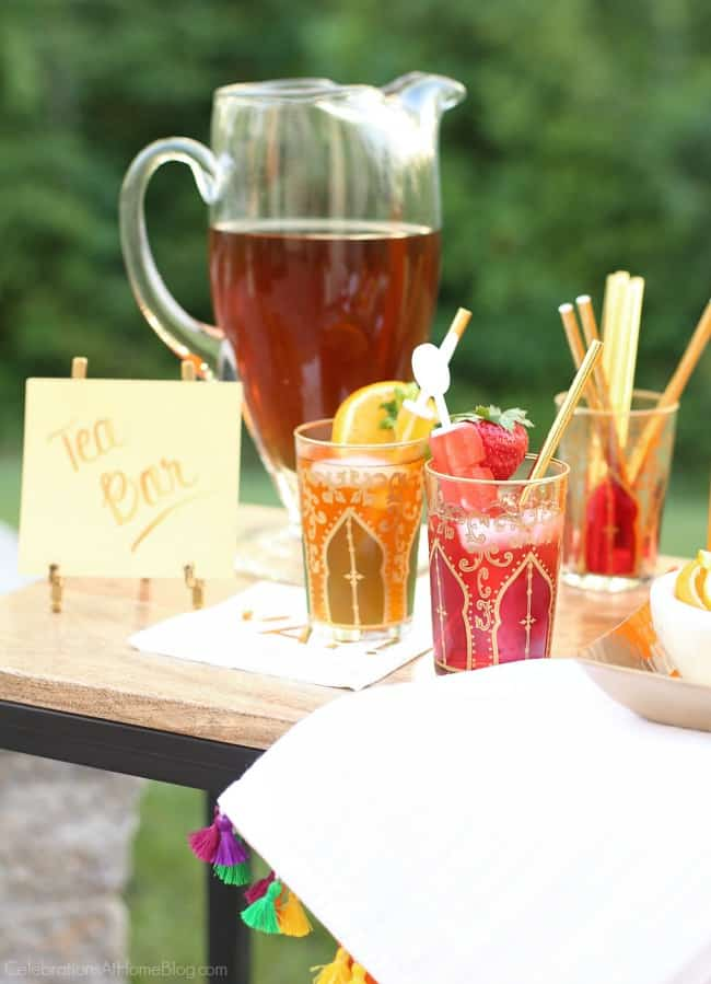 party with Iced Tea Bar; tea glasses filled with flavored iced tea