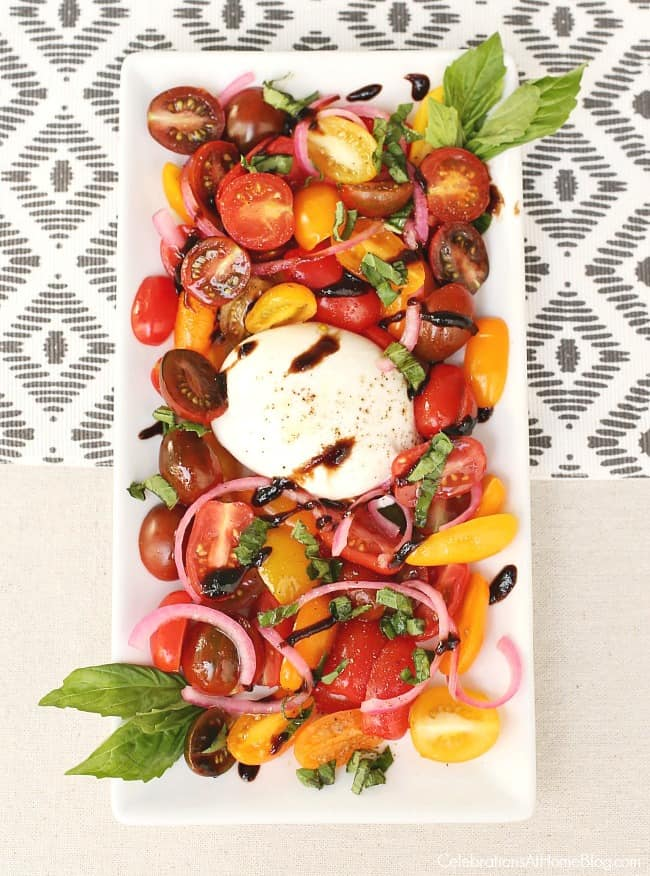 Heirloom tomatoes & burrata salad for a Casual Supper or Dinner Party Menu, perfect for entertaining at home.