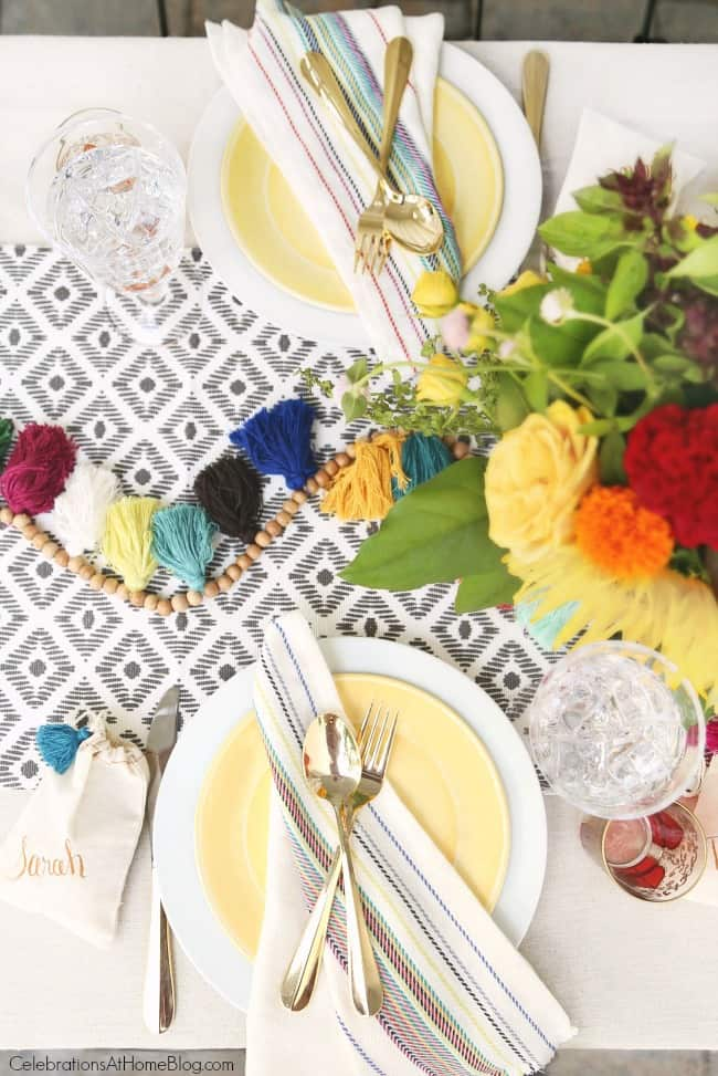 tablescape place settings; summer dinner Party with Iced Tea Bar