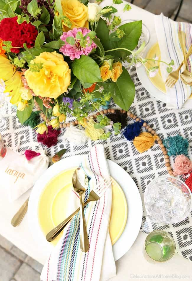 tablescape top view; dinner Party with Iced Tea Bar