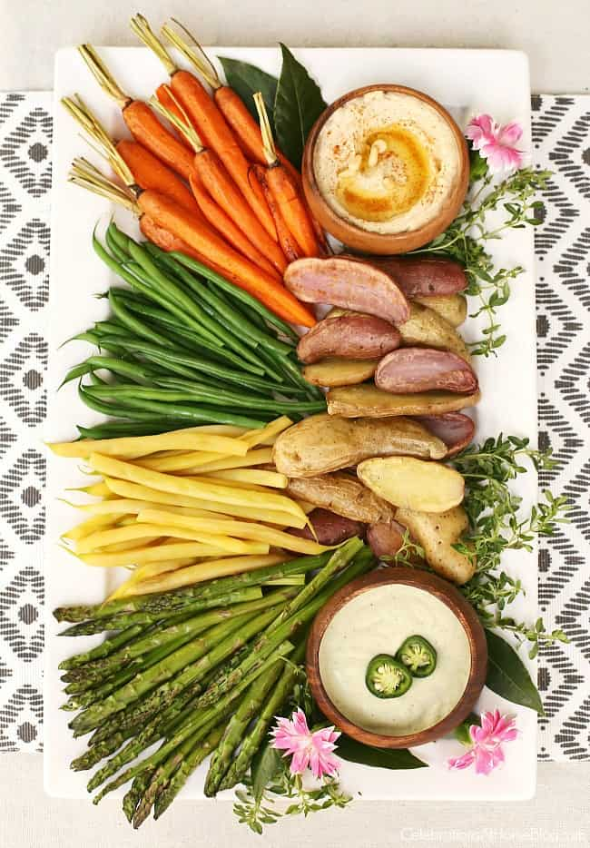 Roasted vegetable platter for a Casual Supper or Dinner Party Menu, perfect for entertaining at home.