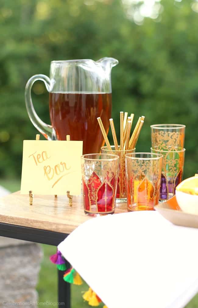 You're going to love this late summer dinner Party with Iced Tea Bar. This party has cool, relaxed vibes with a casual menu and interactive beverage bar