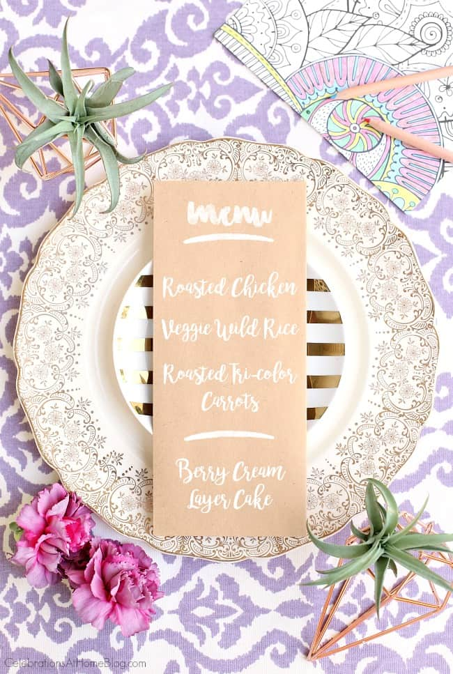 This Purple Celebration Tablescape with Floor Seating will inspire your next festive party. Celebration menu and dinner party plan with recipes. Get ideas for a bridal shower, engagement celebration, or bridesmaids luncheon.
