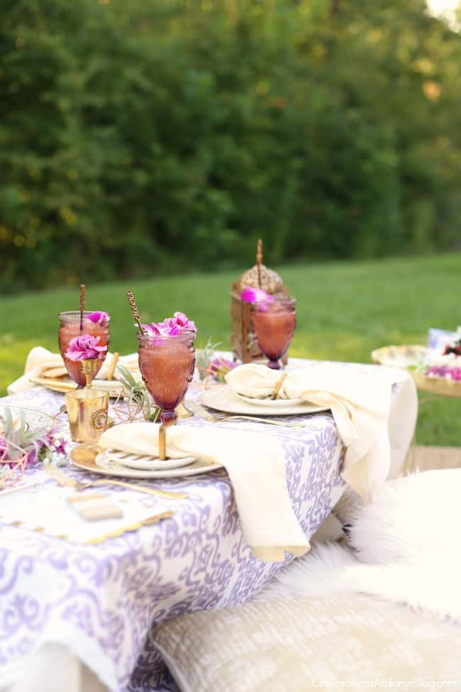 Purple Celebration Tablescape With Floor Seating
